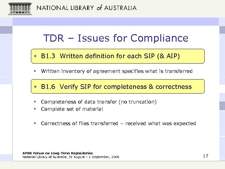 TDR – Issues for Compliance § B 1. 3 Written definition for each SIP