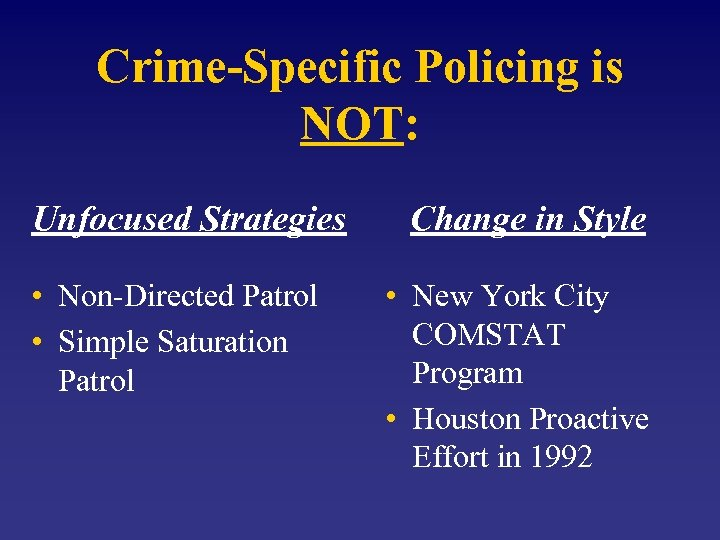 Crime-Specific Policing is NOT: Unfocused Strategies • Non-Directed Patrol • Simple Saturation Patrol Change