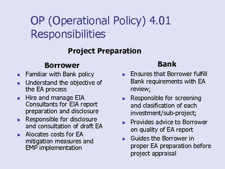 OP (Operational Policy) 4. 01 Responsibilities Project Preparation Bank Borrower n n n Familiar