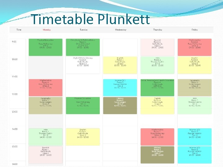 Timetable Plunkett