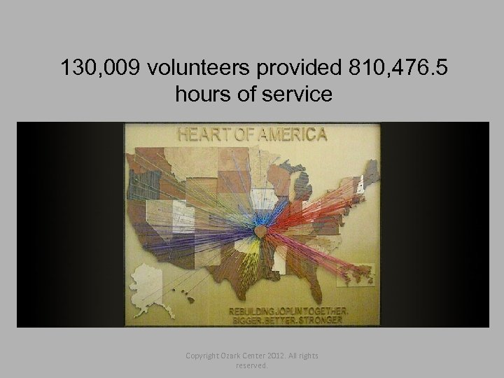 130, 009 volunteers provided 810, 476. 5 hours of service Copyright Ozark Center 2012.