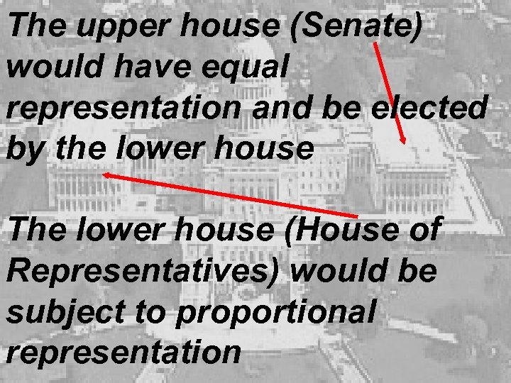 The upper house (Senate) would have equal representation and be elected by the lower
