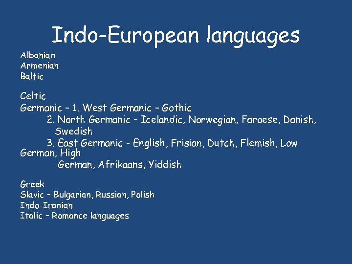 Indo-European languages Albanian Armenian Baltic Celtic Germanic – 1. West Germanic – Gothic 2.
