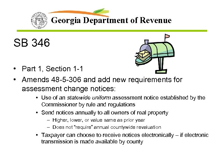 Georgia Department of Revenue SB 346 • Part 1, Section 1 -1 • Amends