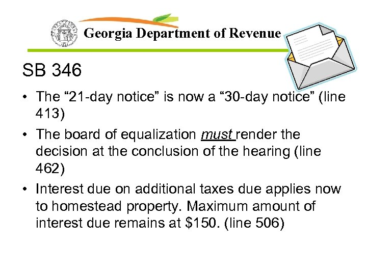 "Georgia Department of Revenue SB 346 • The "" 21 -day notice"" is now"