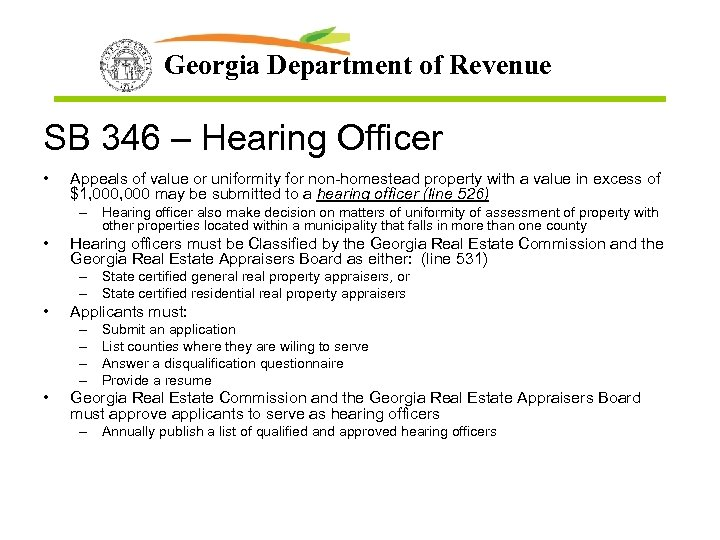 Georgia Department of Revenue SB 346 – Hearing Officer • Appeals of value or