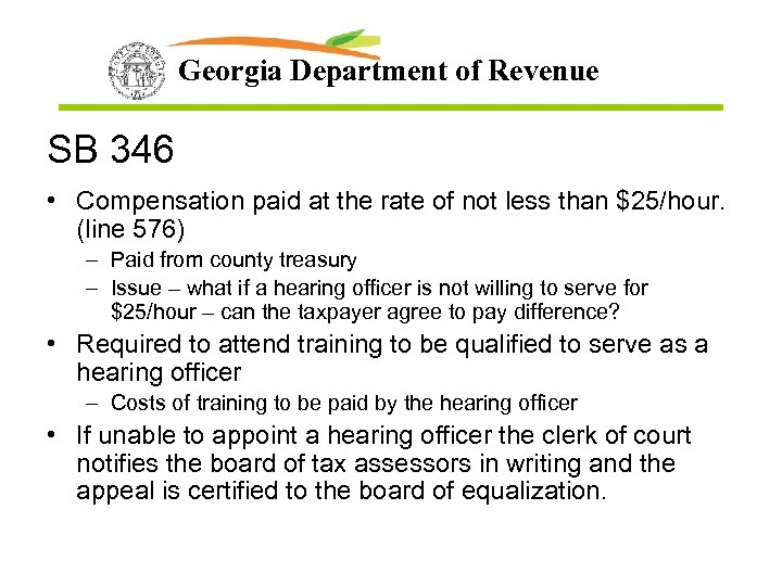 Georgia Department of Revenue SB 346 • Compensation paid at the rate of not