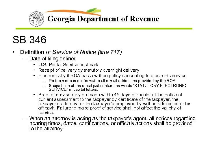 Georgia Department of Revenue SB 346 • Definition of Service of Notice (line 717)