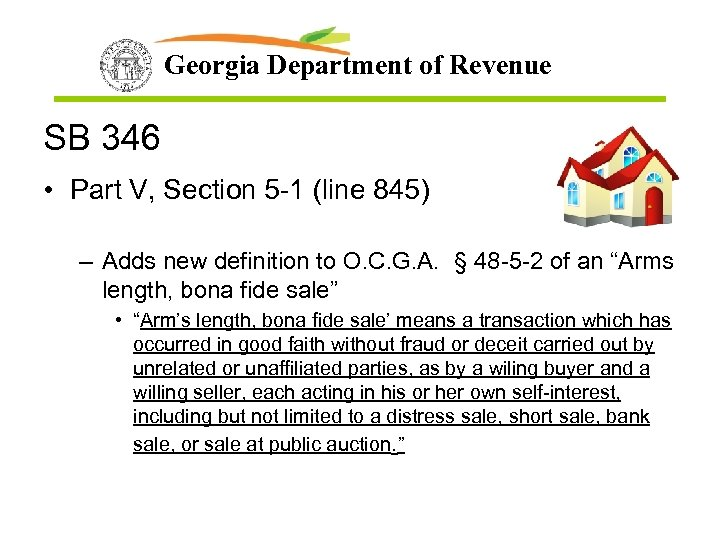 Georgia Department of Revenue SB 346 • Part V, Section 5 -1 (line 845)