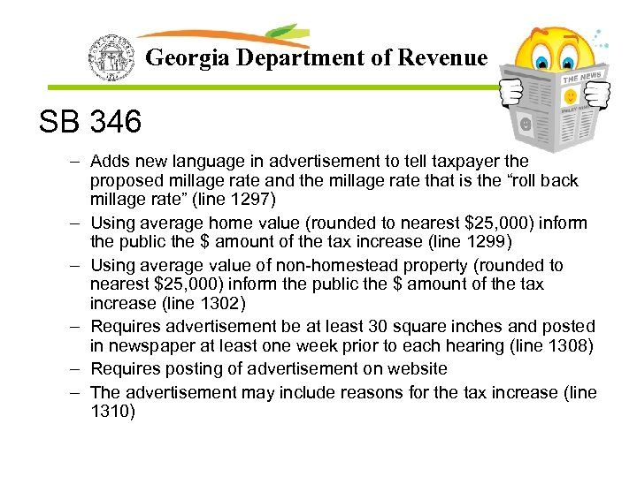 Georgia Department of Revenue SB 346 – Adds new language in advertisement to tell