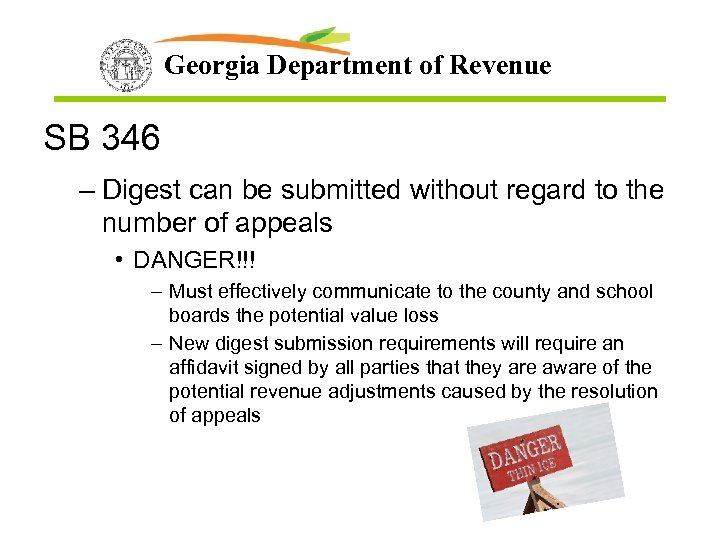 Georgia Department of Revenue SB 346 – Digest can be submitted without regard to