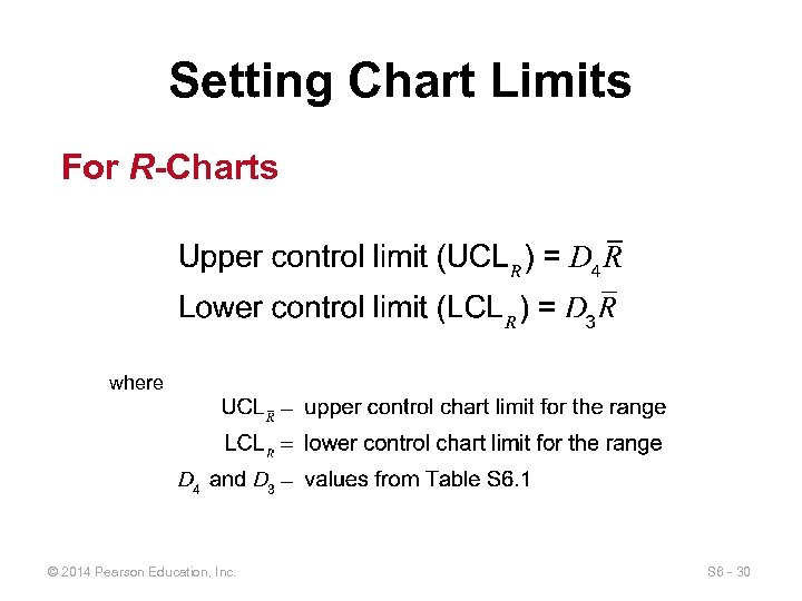 Setting Chart Limits For R-Charts where © 2014 Pearson Education, Inc. S 6 -