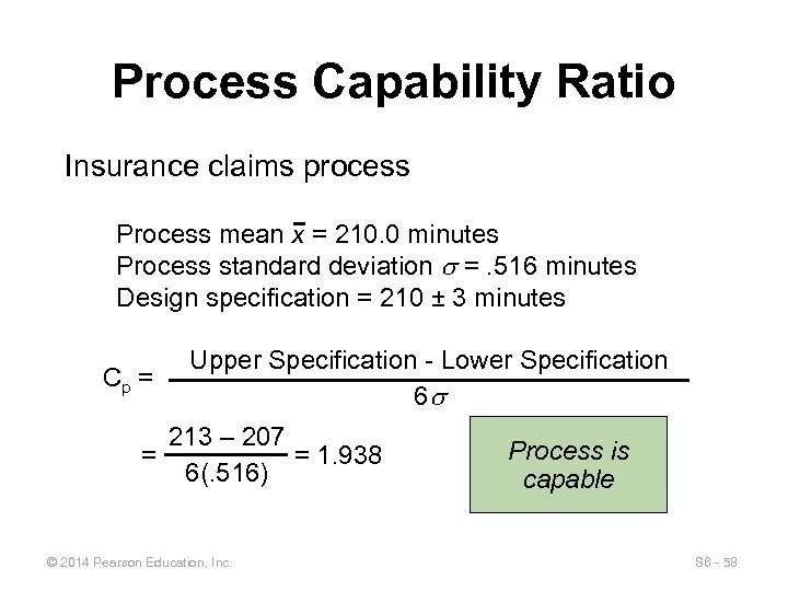 Process Capability Ratio Insurance claims process Process mean x = 210. 0 minutes Process