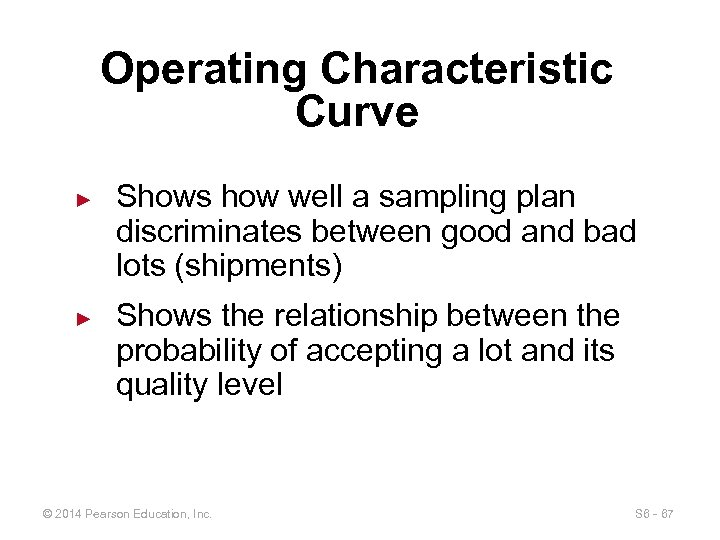 Operating Characteristic Curve ► ► Shows how well a sampling plan discriminates between good