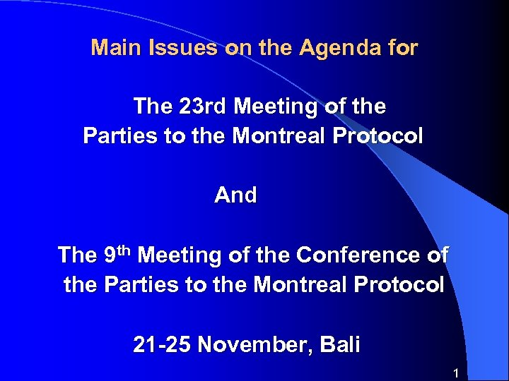 Main Issues on the Agenda for The 23 rd Meeting of the Parties to