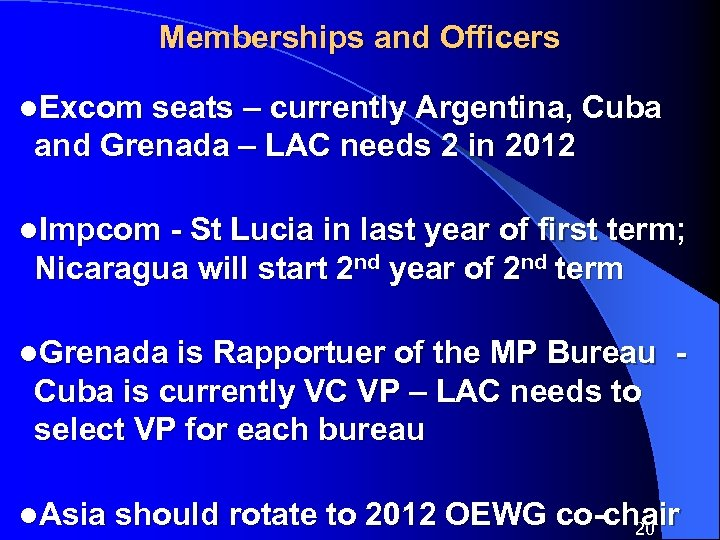 Memberships and Officers l. Excom seats – currently Argentina, Cuba and Grenada – LAC