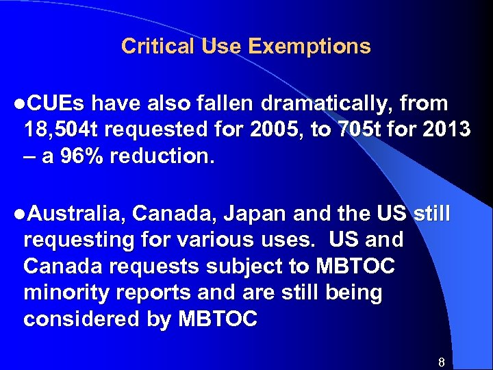 Critical Use Exemptions l. CUEs have also fallen dramatically, from 18, 504 t requested