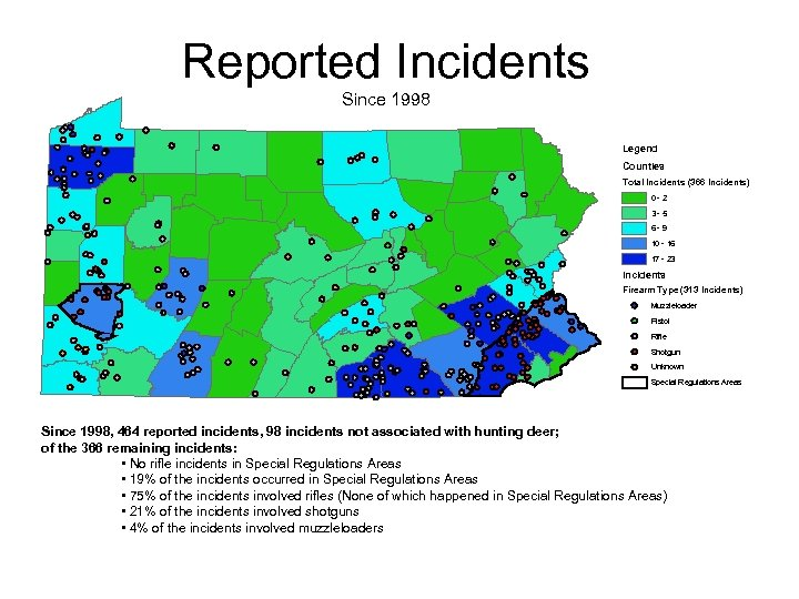 Reported Incidents Since 1998 Legend Counties Total Incidents (366 Incidents) 0 -2 3 -5