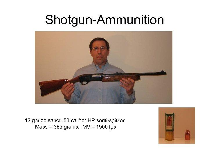 Shotgun-Ammunition 12 gauge sabot. 50 caliber HP semi-spitzer Mass = 385 grains, MV =