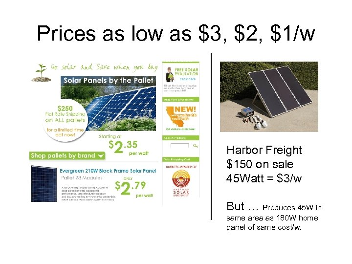 Prices as low as $3, $2, $1/w Harbor Freight $150 on sale 45 Watt
