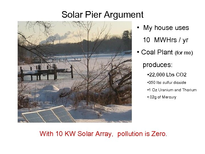 Solar Pier Argument • My house uses 10 MWHrs / yr • Coal Plant