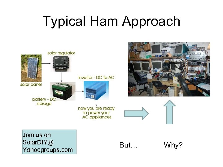 Typical Ham Approach Join us on Solar. DIY@ Yahoogroups. com But… Why?