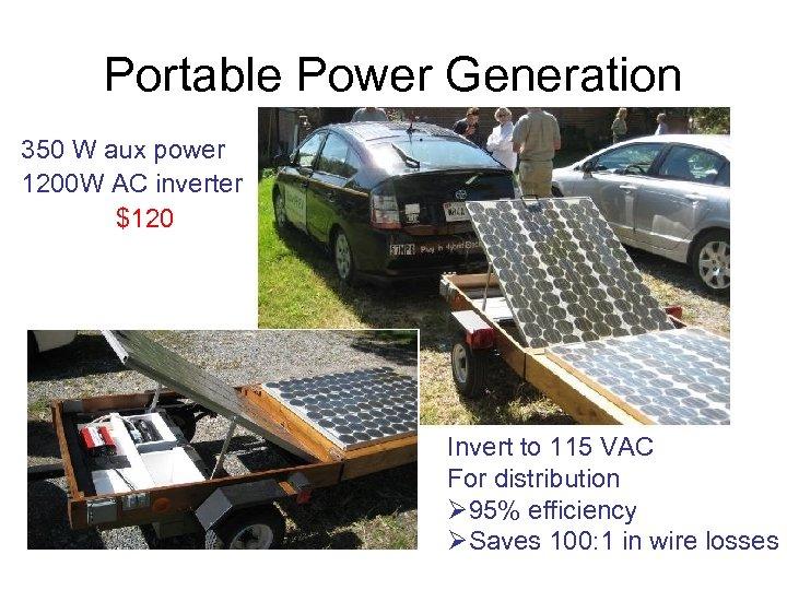 Portable Power Generation 350 W aux power 1200 W AC inverter $120 Invert to