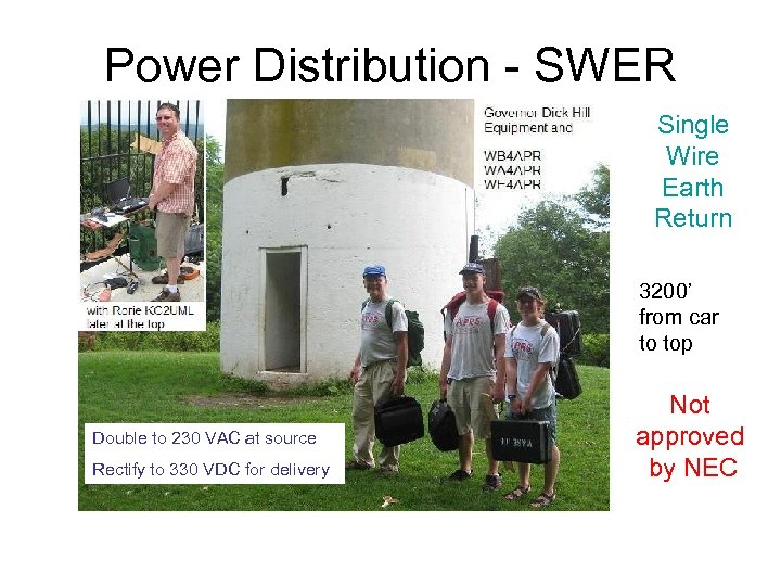 Power Distribution - SWER Single Wire Earth Return 3200' from car to top Double