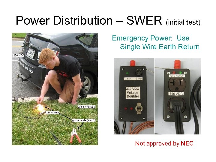 Power Distribution – SWER (initial test) Emergency Power: Use Single Wire Earth Return Not