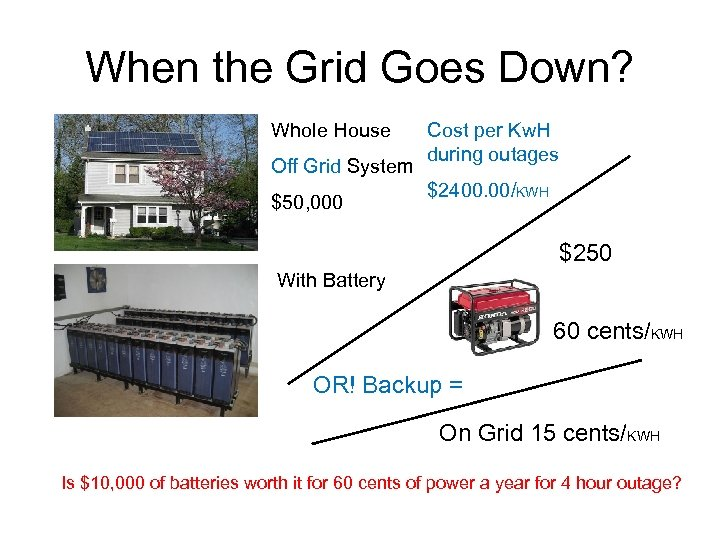 When the Grid Goes Down? Whole House Off Grid System $50, 000 Cost per