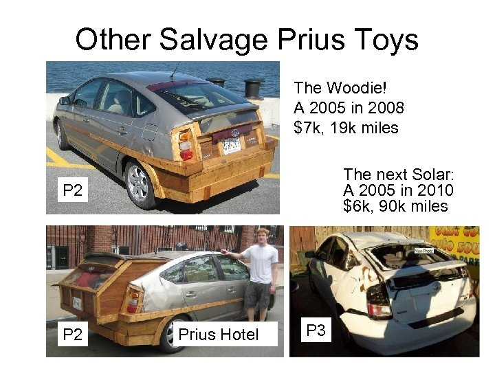 Other Salvage Prius Toys The Woodie! A 2005 in 2008 $7 k, 19 k