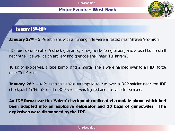 -Unclassified- Major Events – West Bank January 25 th-28 th January 27 th –