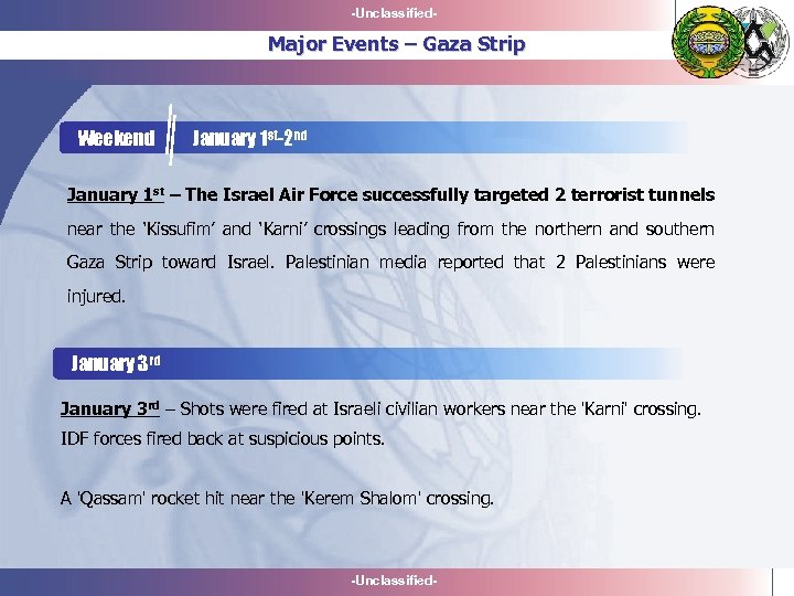 -Unclassified- Major Events – Gaza Strip Weekend January 1 st-2 nd January 1 st