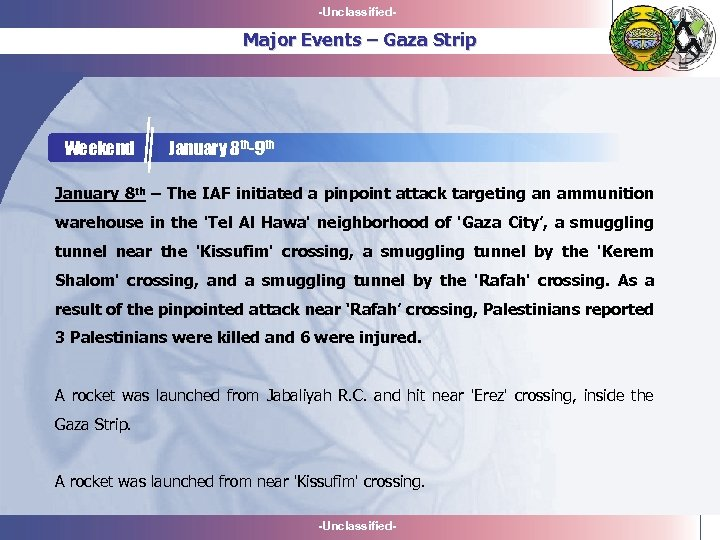 -Unclassified- Major Events – Gaza Strip Weekend January 8 th-9 th January 8 th