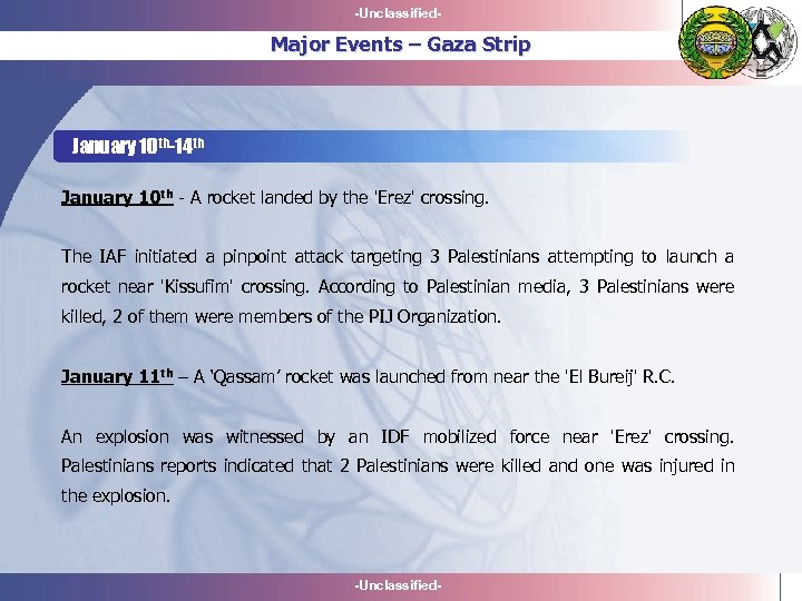 -Unclassified- Major Events – Gaza Strip January 10 th-14 th January 10 th -