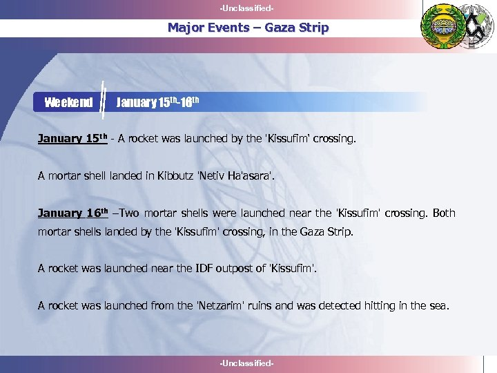 -Unclassified- Major Events – Gaza Strip Weekend January 15 th-16 th January 15 th