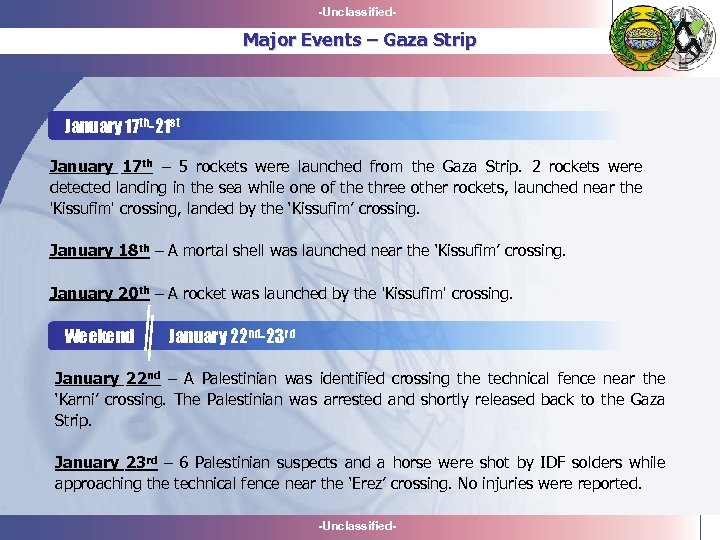 -Unclassified- Major Events – Gaza Strip January 17 th-21 st January 17 th –