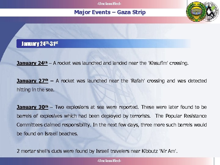 -Unclassified- Major Events – Gaza Strip January 24 th-31 st January 24 th –
