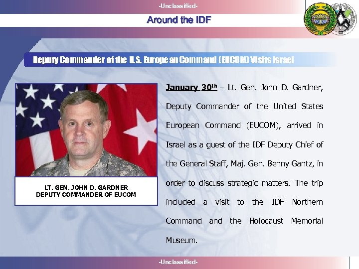 -Unclassified- Around the IDF Deputy Commander of the U. S. European Command (EUCOM) Visits