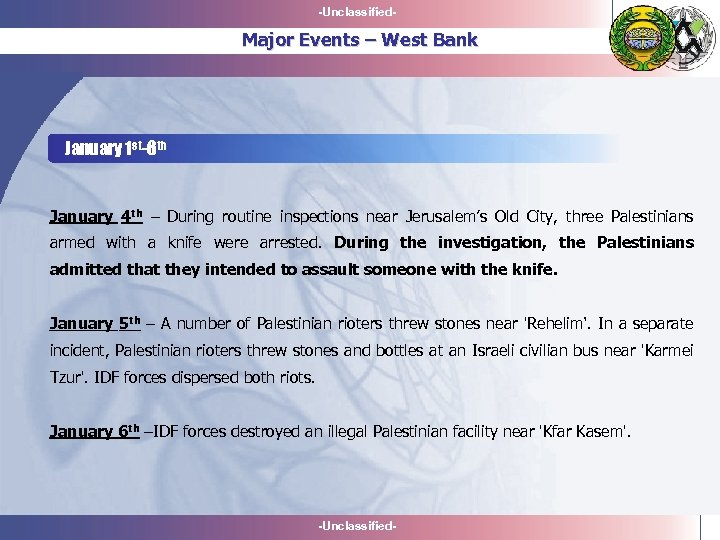 -Unclassified- Major Events – West Bank January 1 st-6 th January 4 th –