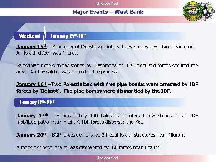 -Unclassified- Major Events – West Bank Weekend January 15 th-16 th January 15 th