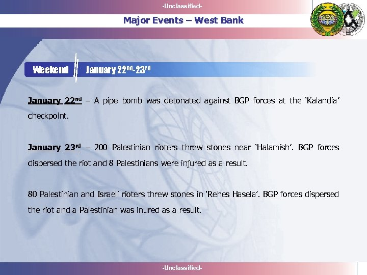 -Unclassified- Major Events – West Bank Weekend January 22 nd-23 rd January 22 nd