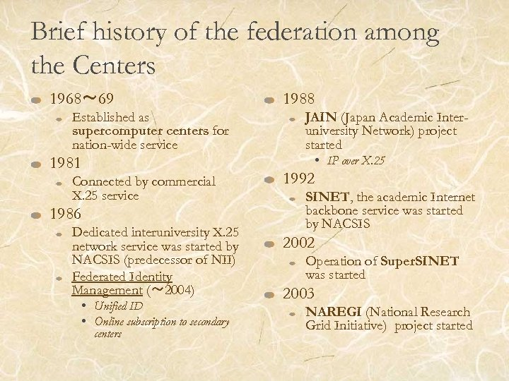 Brief history of the federation among the Centers 1968~ 69 Established as supercomputer centers