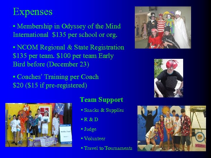 Expenses • Membership in Odyssey of the Mind International $135 per school or org.