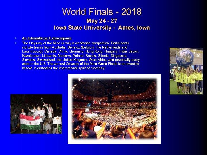 World Finals - 2018 May 24 - 27 Iowa State University - Ames, Iowa