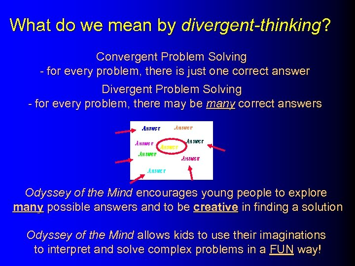 What do we mean by divergent-thinking? Convergent Problem Solving - for every problem, there