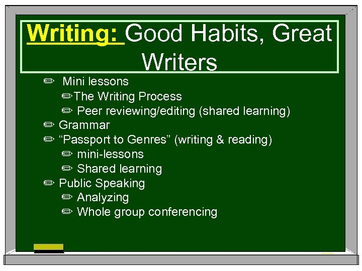 Writing: Good Habits, Great Writers ✏ Mini lessons ✏The Writing Process ✏ Peer reviewing/editing