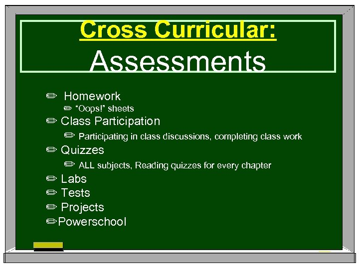 """Cross Curricular: Assessments ✏ Homework ✏ """"Oops!"""" sheets ✏ Class Participation ✏ Participating in"""