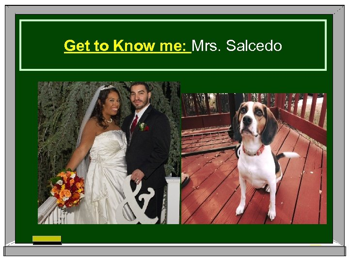 Get to Know me: Mrs. Salcedo