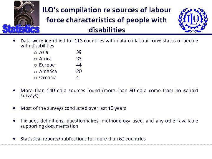 ILO's compilation re sources of labour force characteristics of people with disabilities • Data